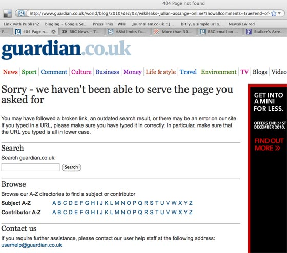Guardian 404 page