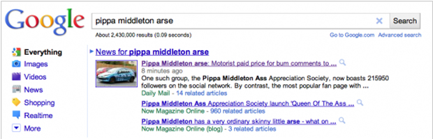 Google search for Pippa Middleton
