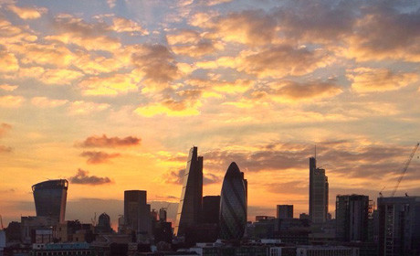 London city sunrise skyline