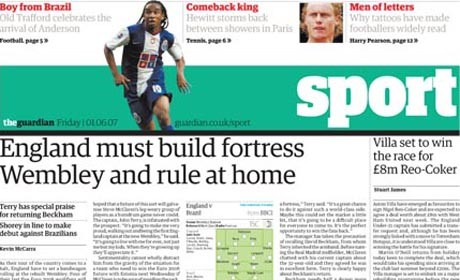 Guardian newspaper sports today