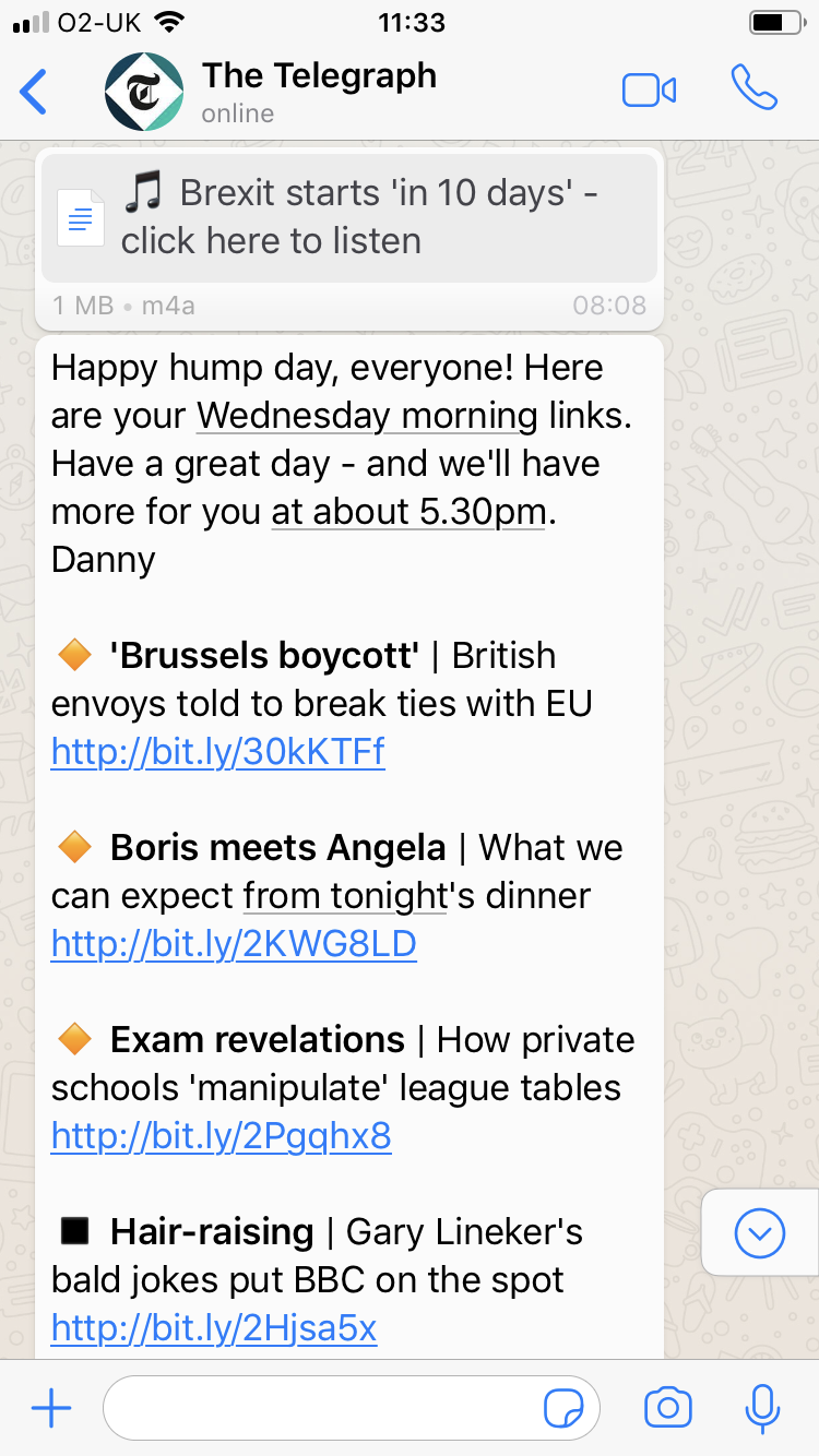 The Telegraph is growing its subscriptions with WhatsApp