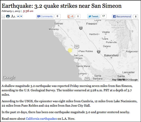 LA Times earthquake