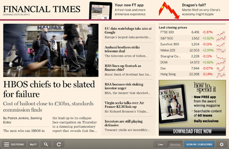 FT web app morning