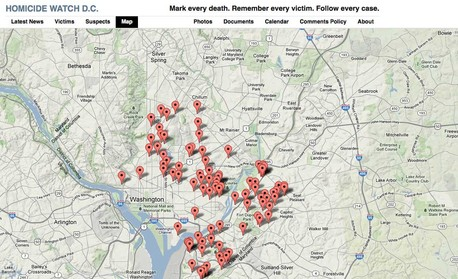Homicide Watch DC map