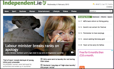 Irish Independent website