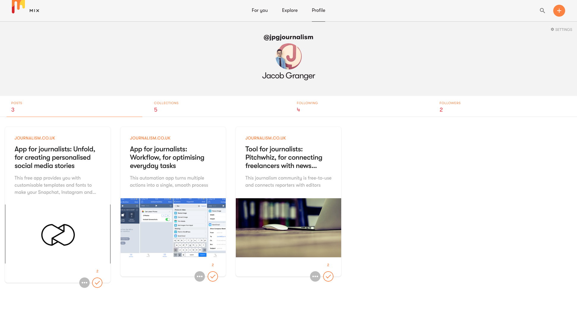 Tool for journalists: Mix, an online portfolio for sharing