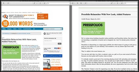 pressfolios screenshot