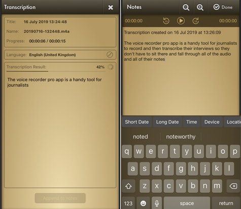 App for journalists: Voice Record Pro, for transcribing
