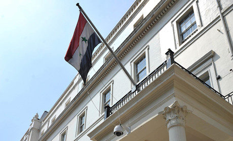 Syria flag outside embassy
