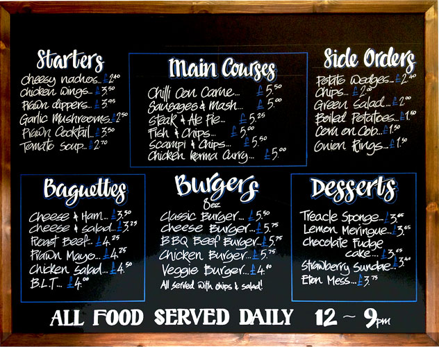 Chalkboard signs provides artistic chalkboards for the for Artistic cuisine menu