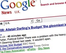 Screenshot of Google News UK