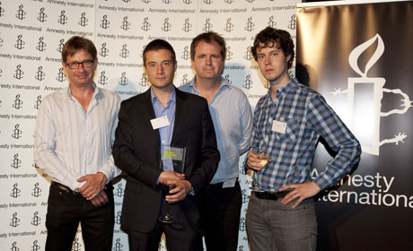 Amnesty Award Dan Bell, Iain Overton, Stuart Griffiths and Charlie Mole