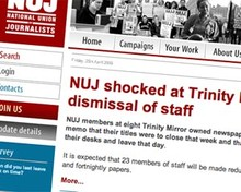 Screenshot of NUJ website