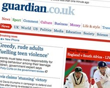 Screenshot of the Guardian website