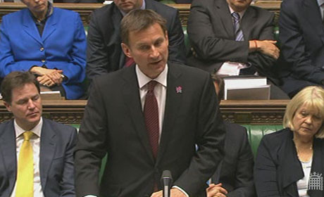 Jeremy Hunt gives statement in commons