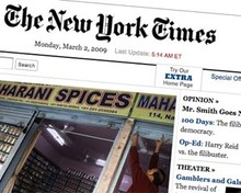 Screenshot of New York Times website