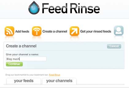 Feed Rinse create a channel page