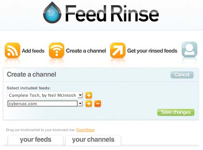 Feed Rinse add a feed to a channel page