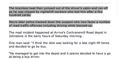 Bus theft story